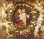 Jan Brueghel the Elder and Peter Paul Rubens. Madonna in Floral Wreath.