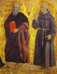 St. John the Evangelist and St. Bernardine of Siena.Right side panel of the Polyptych of the Miseric