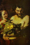 Satyr and Girl with a Basket of Fruit.