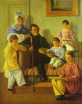 The Family Portrait of A. Bashilov with His and Count de Balman's Children.
