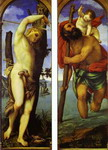 Wings of a triptych: St. Sebastian (left); St. Christopher (right).