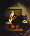 A Young Woman Sewing.