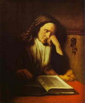 An Old Woman Dozing over a Book.