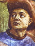 Masaccio and Filippino Lippi. Raising of the Son of Theophilus (detail).