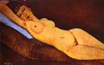 Reclining Nude with Blue Cushion.