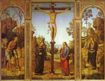 The Crucifixion with the Virgin, St. John, St. Jerome and St. Mary Magdalene.