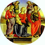 The Virgin and Child Surrounded by Two Angels, St. Rose, and St. Catherine.