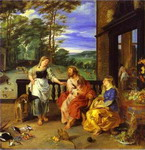Jan Bruegel the Younger and Peter Paul Rubens. Christ in the House of Martha and Mary.