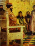 Tzar Mikhail Fedorovich Holding Council with the Boyars in His Royal Chamber.