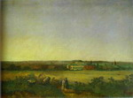 View in the Vicinity of Moscow with a Mansion and Two Female Figures.
