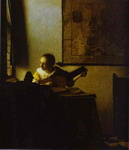 Woman Playing a Lute near a Window