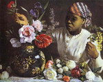 Negress with Peonies.