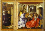 The Annunciation. (The Merode Altarpiece). The left and central panels of the triptych.