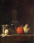 Carafe, Silver Goblet and Fruit.