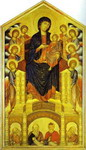 Madonna and Child Enthroned with Eight Angels and Four Prophets (Maestà).