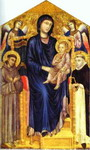 Madonna and Child Enthroned with Two Angels and St. Francis and St. Dominic.