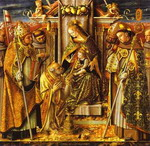 Madonna and Child Enthroned with Presentation of the Keys to St. Peter, with Saints John of Capistra