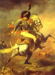 An Officer of the Imperial Horse Guadrs Charging, also Chasseur Charging.