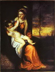Madonna and Child in an Evening Landscape.