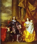 Charles I and Queen Henrietta Maria with Charles, Prince of Wales and Princess Mary.