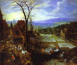 Jan Brueghel the Elder and Joos Momper the Younger (1564-1635). A Flemish Market and Washing-Place.