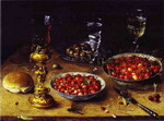 Still Life with Cherries and Strawberries in Porcelain Bowls.