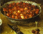 Still Life with Cherries and Strawberries in Porcelain Bowls. Detail.