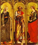 St. Catherine of Alexandria, St. Peter, and Mary Magdalene.