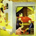 St. Nicholas and the Three Gold Balls. From the predella of the Quaratesi triptych from San Niccolo,
